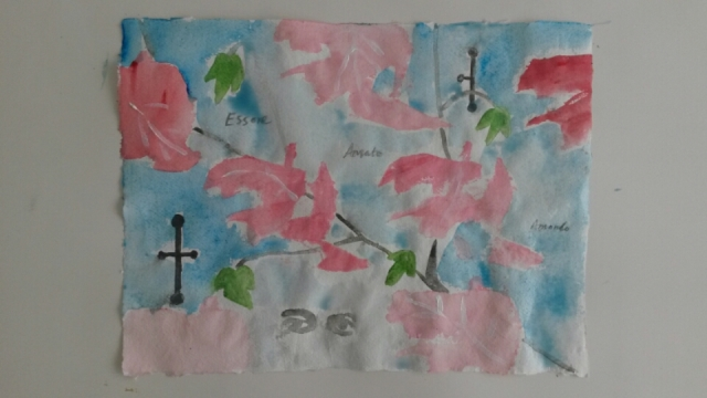 """Pink wallpaper with Alice's eyes"" watercolour on handmade paper 30cm x 40cm"