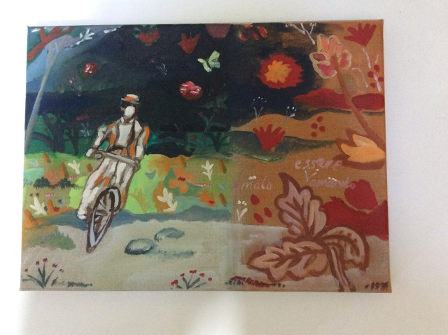 Alice cycling in Chinese wallpaper